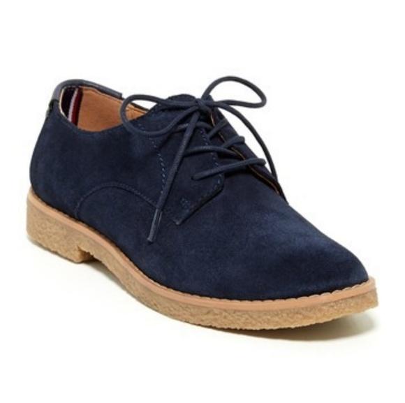 d1044c57dc59 Tommy Hilfiger Zelvia Blue Suede Oxford Shoes